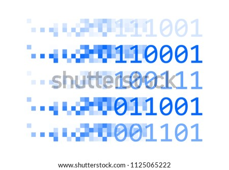 Pixel Binary Concept. Artificial Intelligence Background. Vector Illustration.