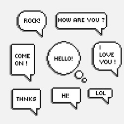 pixel 8 bit speech bubbles with words hi hello lol rock chat boxes retro  8-bit