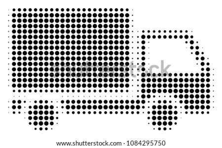 Pixel black delivery lorry icon. Vector halftone pattern of delivery lorry symbol created from round items.
