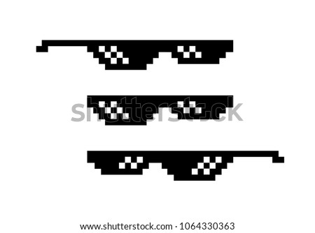 pixel black sunglasses 8 bit