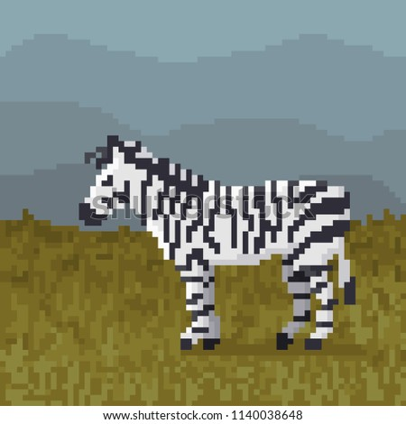 pixel cartoon zebra vector