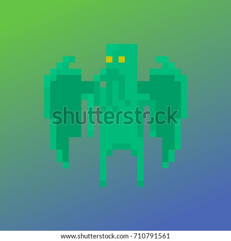 pixel character cthulhu for
