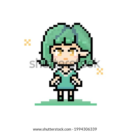 pixel character elf with green