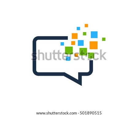 Pixel Chat Logo Design Template