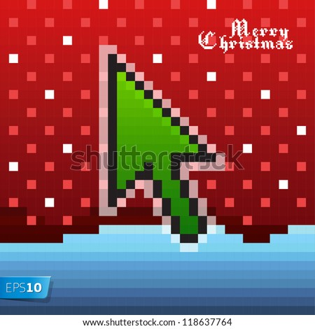 Pixel Christmas card, vector Eps 10 illustration.