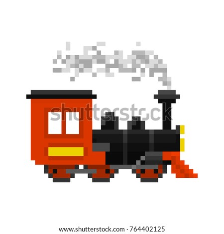 Pixel Christmas toy train for games and web sites