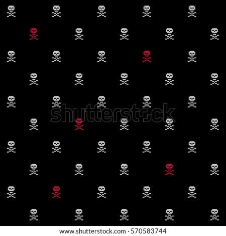 pixel crossbones seamless