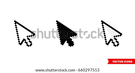 Pixel cursor icon of 3 types: color, black and white, outline. Isolated vector sign symbol.