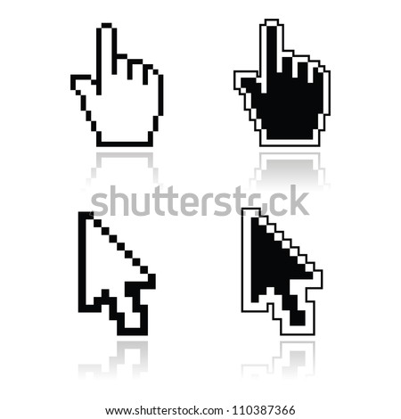 Pixel cursors black clean shiny icons hand and arrow