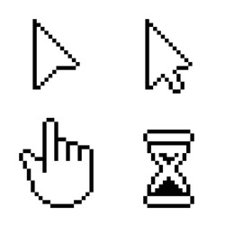 Pixel cursors vector icons, hand cursor mouse pointer hourglass.