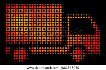Pixel delivery lorry icon. Bright pictogram in hot color shades on a black background. Vector halftone concept of delivery lorry symbol created with spheric items.