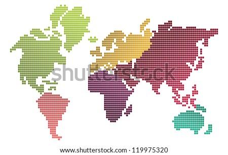 Pixel design world map