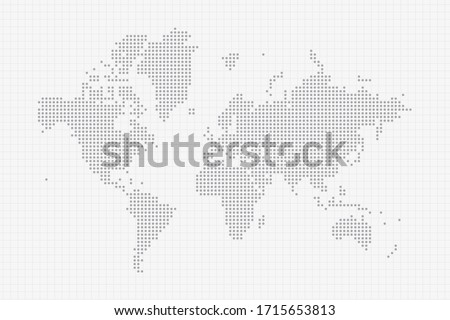 Pixel dotted map of World in grey. Vector illustration EPS10.