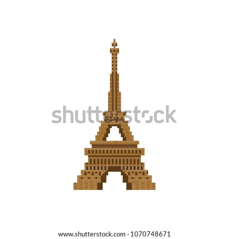 pixel eiffel towerparis france