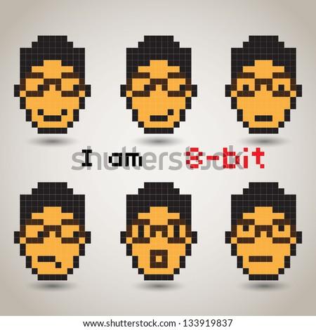 Pixel Emotion Icons - Angry, Sick, Happy, Sad