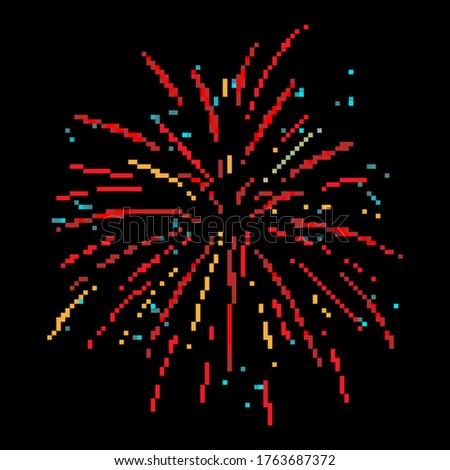 Pixel firework. Festive firework bursting. Pixel art 8 bit.