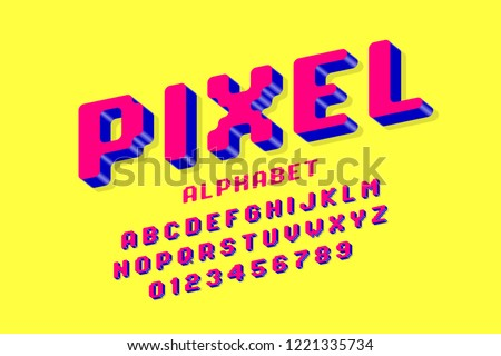 Pixel font, 3d retro video game style alphabet letters and numbers vector illustration