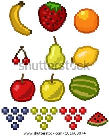 Pixel Fruit - vector illustration set