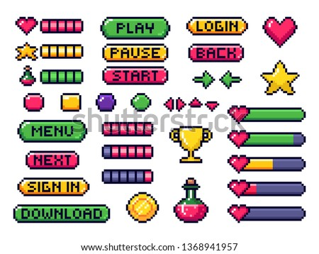 Pixel game buttons. Games UI, gaming controller arrows and 8 bit pixels button. Game pixel art magic items, digital pixelated lives bar and menu button. Vector isolated symbols set