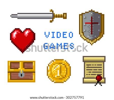 pixel game icons