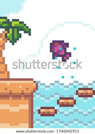 pixel game interface fish with