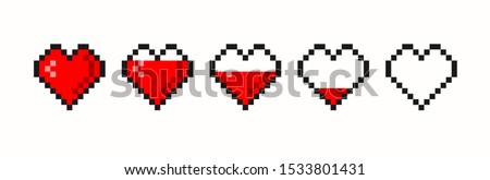 Pixel game life bar. Vector art 8 bit health heart bar. Gaming controller, symbols set.