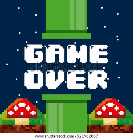 pixel game over interface with