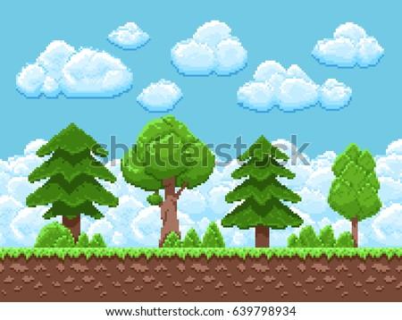 pixel game vector landscape
