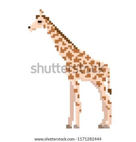 pixel giraffe isolated on white