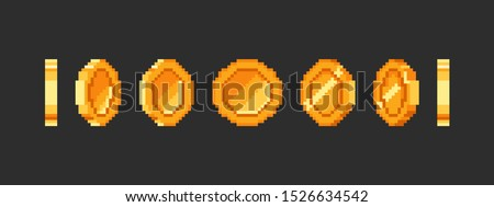 Pixel gold coin animation for 16 bit retro game. Vector golden pixelated coins. Illustration of money 8bit