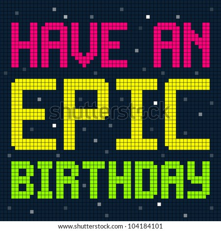 pixel happy birthday design