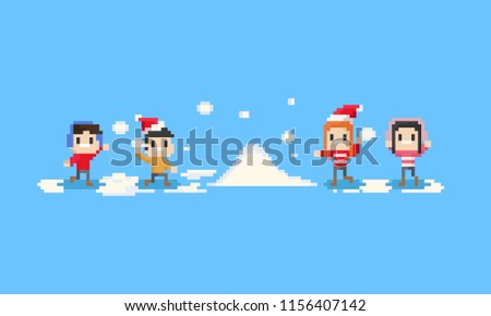 Pixel happy children playing the snow.8bit.christmas.