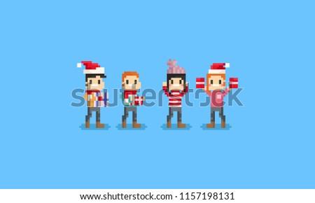 Pixel happy people holding gift box.Chrismas.8bit.