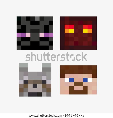 Pixel heads of the characters of the game. Pixel elements icons. Vector illustration. EPS 10.