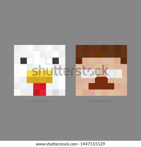 pixel heads of the characters