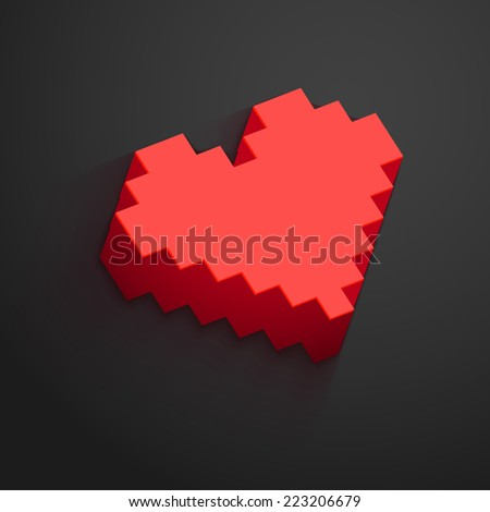 pixel heart button vector for