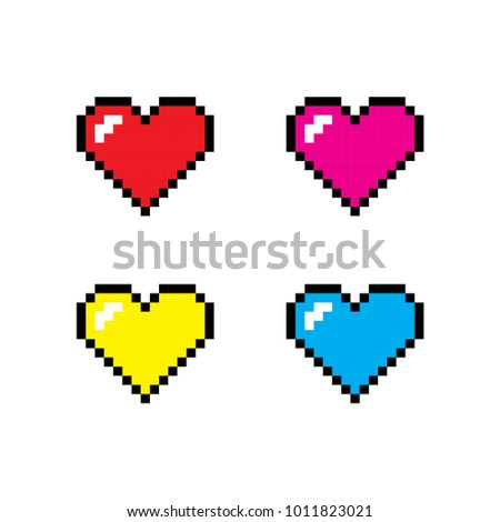 pixel heart icon set  the 14th