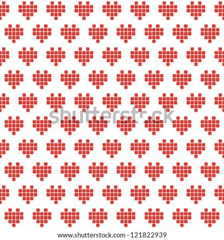 Pixel heart seamless pattern. Romantic background. Vector illustration