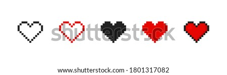 Pixel heart set ison in retro style. Vintage love symbol, 8 bit vector illustration for computer game. Web button