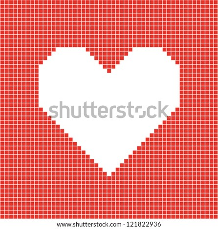 Pixel heart sign. Romantic background. Vector illustration
