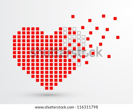 Pixel heart. Vector