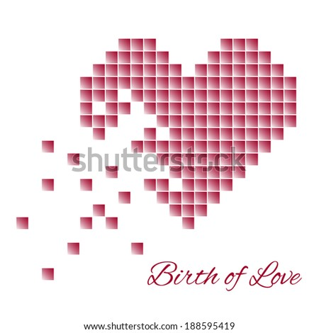 pixel heart which is composed