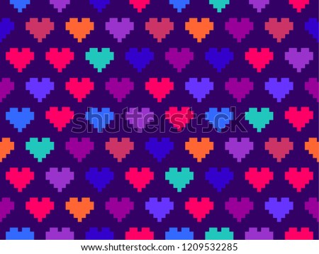 pixel hearts colorful seamless pattern