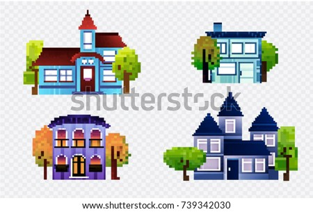 Pixel houses with tree, isolated vector set, landscape illustration