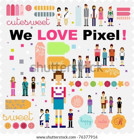 pixel human scrapbook and stickers tags