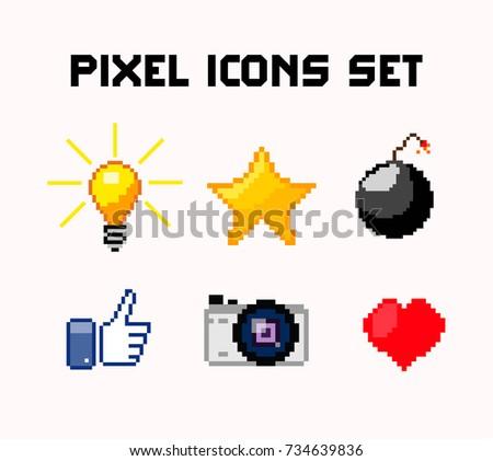 pixel icons set  light bulb