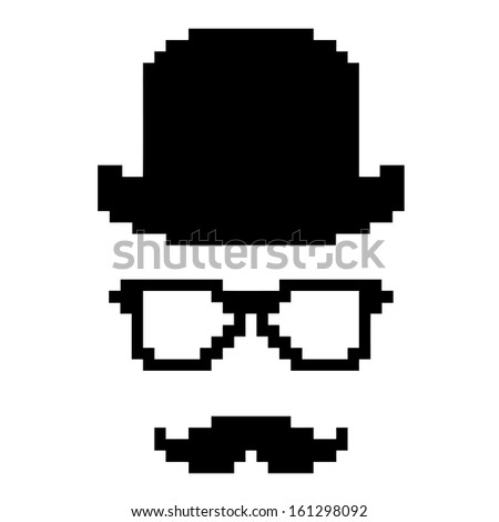 pixel image of a man in a hat