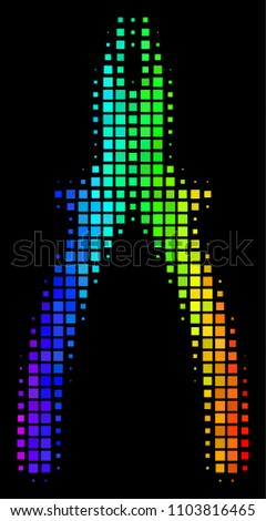 Pixel impressive halftone pliers icon in spectral color shades with horizontal gradient on a black background. Bright vector mosaic of pliers illustration constructed of square cells.
