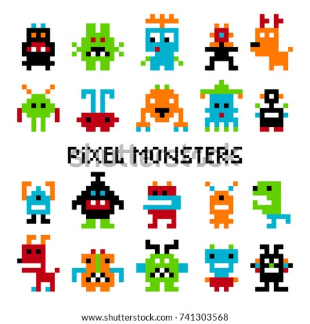 Pixel invaders. Vector computer pixel space or cosmic invader set graphics for vintage arcade video game