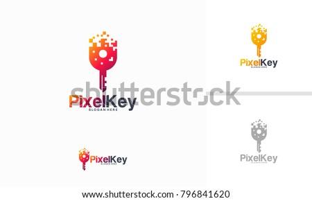 Pixel Key logo designs concept vector, Key technology logo template